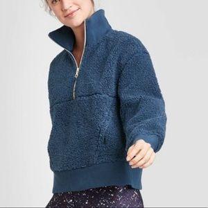 NEW Joy Lab Sherpa Pullover Sweatshirt Navy Blue